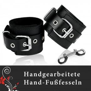 TOP Qualität - 1 Paar HANDGEFERTIGTE Leder Handfesseln / Fußfesseln / Schwarz