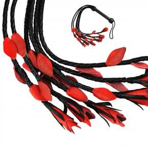 TOP Qualität - HANDGEFERTIGTE Lederpeitsche mit 6 Riemen / Rote Rose
