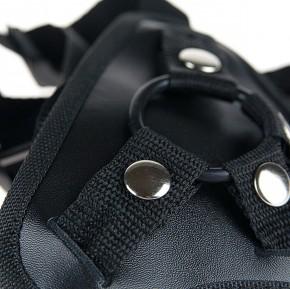 NEU - FESTSITZENDER STRAPON inkl. PREMIUM Silikon-Dildo mit SNAP-LOCK-SYSTEM - 21,0 cm lang - schwarz